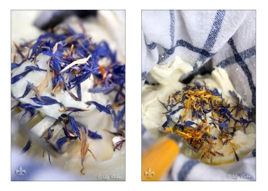 Frischkäse mit Kornblüten und Ringelblumen © Liz Collet