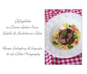 Geflügelleber in Chianti-Lorbeer-Sauce an Farfalle und Adzuki-Bohnen-Salat© Liz Collet
