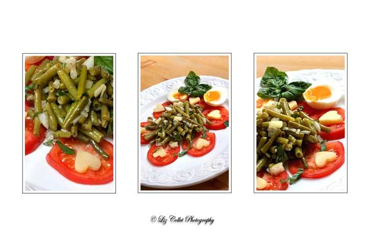 Lizerls Bohnensalat mit Almblütenheukäse an Tomaten © Liz Collet