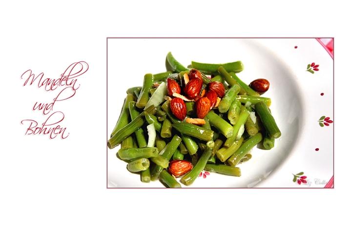 Bohnensalat mit würzigen Mandeln  © Liz Collet  , Mandeln, California Almonds, Kalifornische Mandeln, Mandelrezept, Bohnen, grüne Bohnen, Gastronomie, Rezept, Salat, lauwarmer Salat, lauwarmer Bohnesalat,