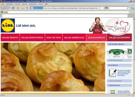 Screenshot der Lidl-Genuss-Seite 10.11.2011