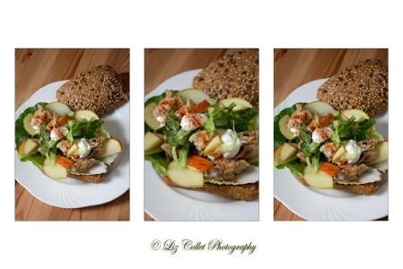 Sesam-Leinsamen-Semmel mit Makrele und Apfel © Liz Collet