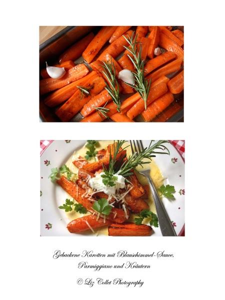 Gebackene Karotten mit Blauchschimmel-Sauce, Parmiggiano und Kräutern © Liz Collet